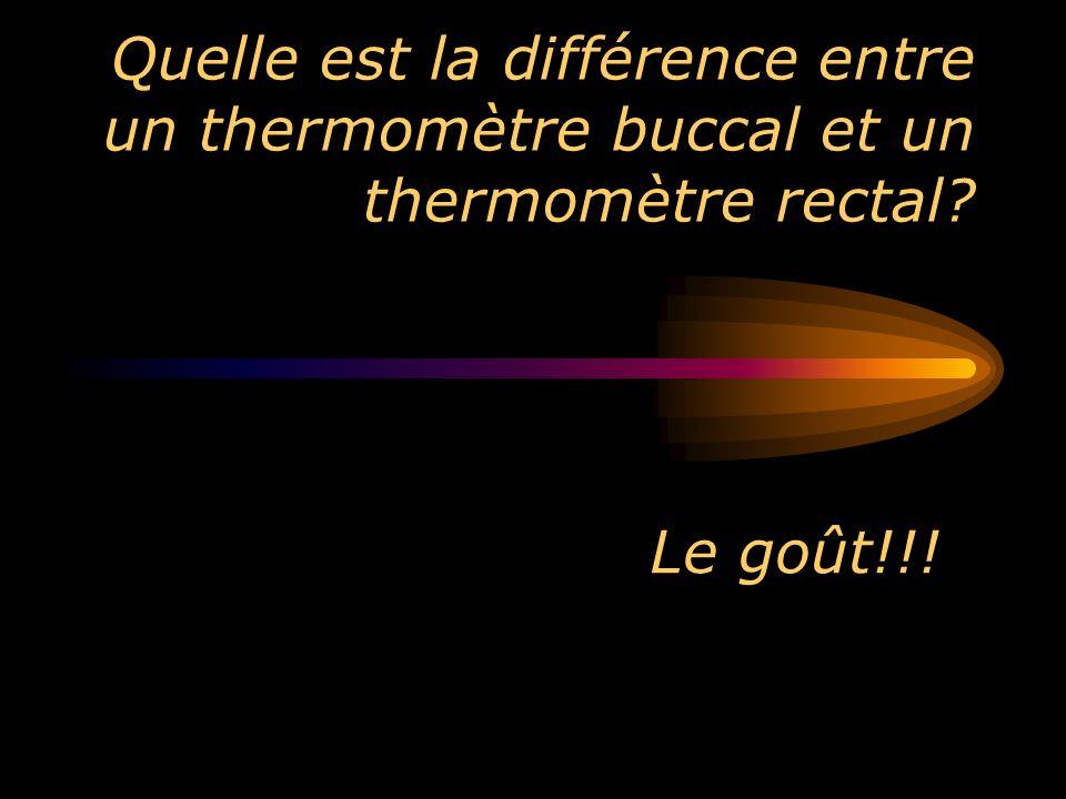 Quelle est la différence entre un thermomètre buccal et un thermomètre rectal? Le goût!!!