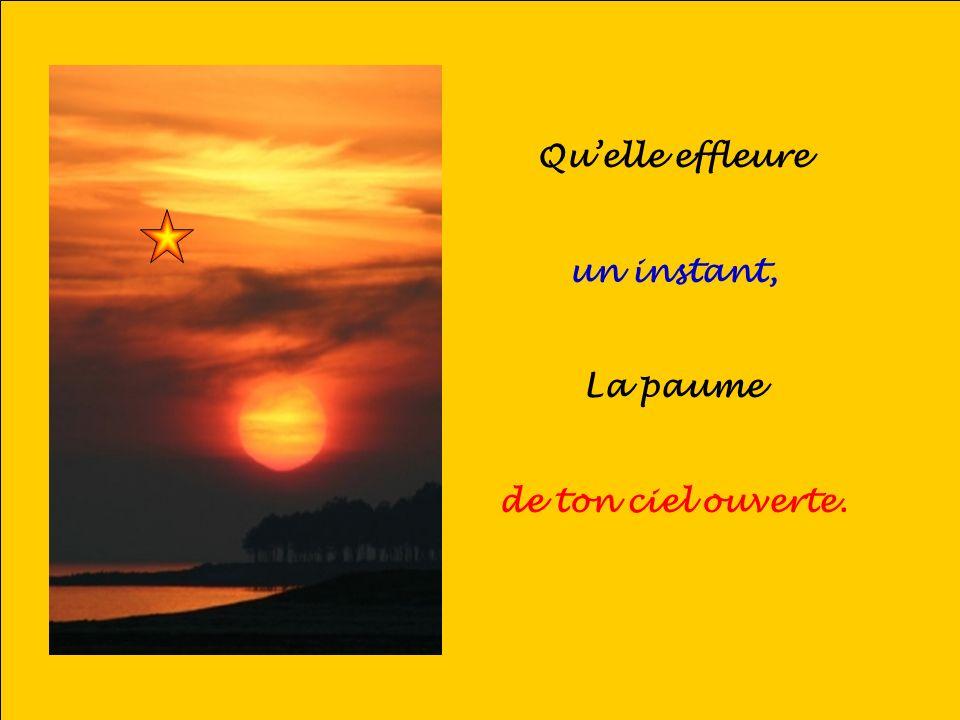 .. Quelle effleure un instant, La paume de ton ciel ouverte.