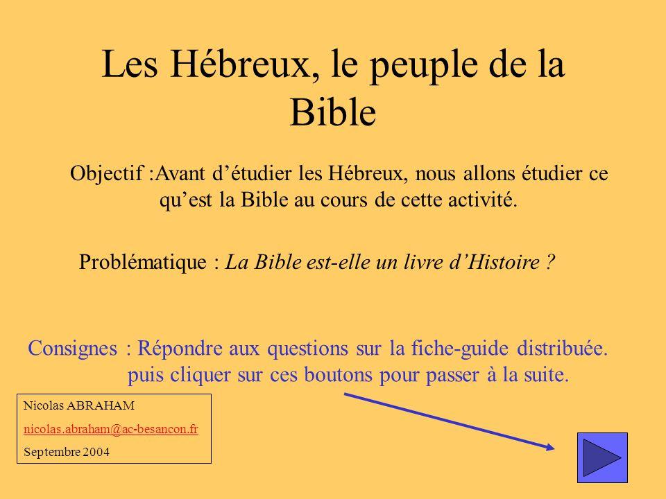 Les Hébreux, le peuple de la Bible Objectif :Avant détudier les Hébreux, nous allons étudier ce quest la Bible au cours de cette activité. Problématiq
