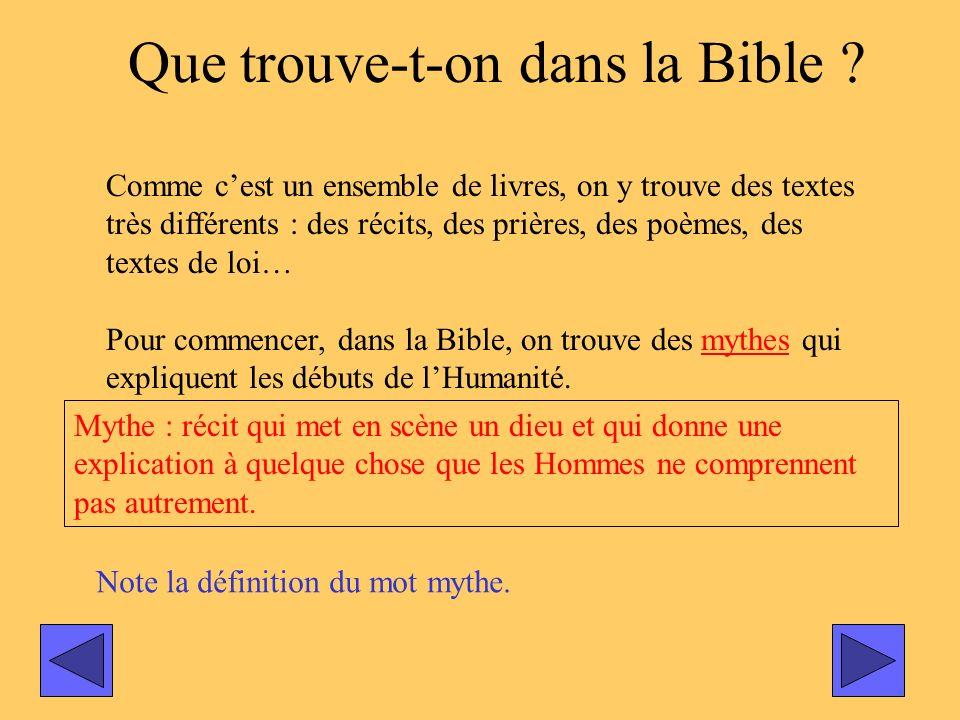 Que trouve-t-on dans la Bible ? Comme cest un ensemble de livres, on y trouve des textes très différents : des récits, des prières, des poèmes, des te