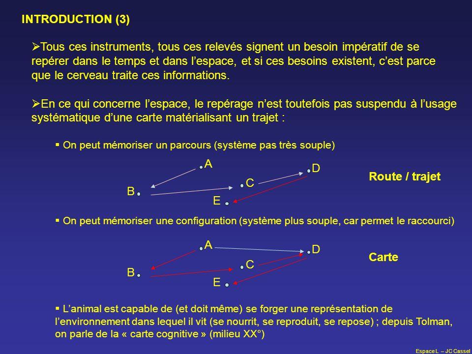 Espace L – JC Cassel INTRODUCTION (3) Tous ces instruments, tous ces relevés signent un besoin impératif de se repérer dans le temps et dans lespace,