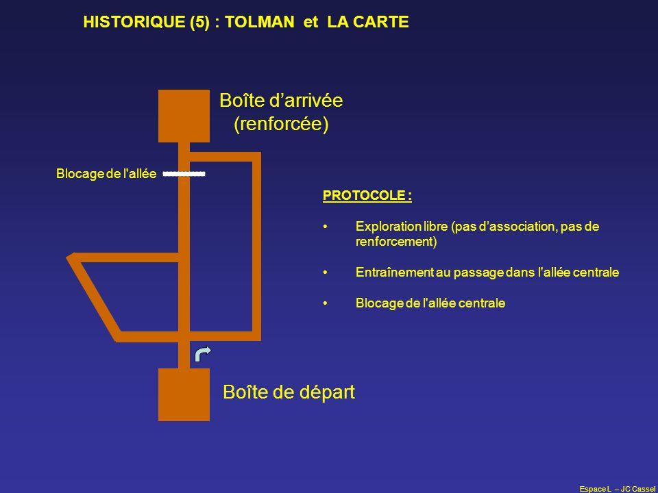 Espace L – JC Cassel Boîte de départ Boîte darrivée (renforcée) PROTOCOLE : Exploration libre (pas dassociation, pas de renforcement) Entraînement au