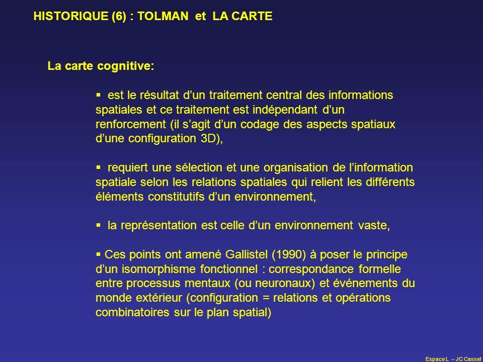 Espace L – JC Cassel HISTORIQUE (6) : TOLMAN et LA CARTE La carte cognitive: est le résultat dun traitement central des informations spatiales et ce t