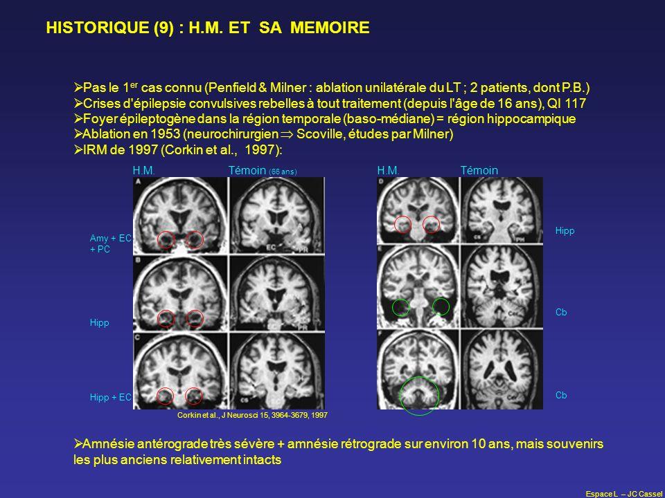 Espace L – JC Cassel HISTORIQUE (9) : H.M. ET SA MEMOIRE Pas le 1 er cas connu (Penfield & Milner : ablation unilatérale du LT ; 2 patients, dont P.B.