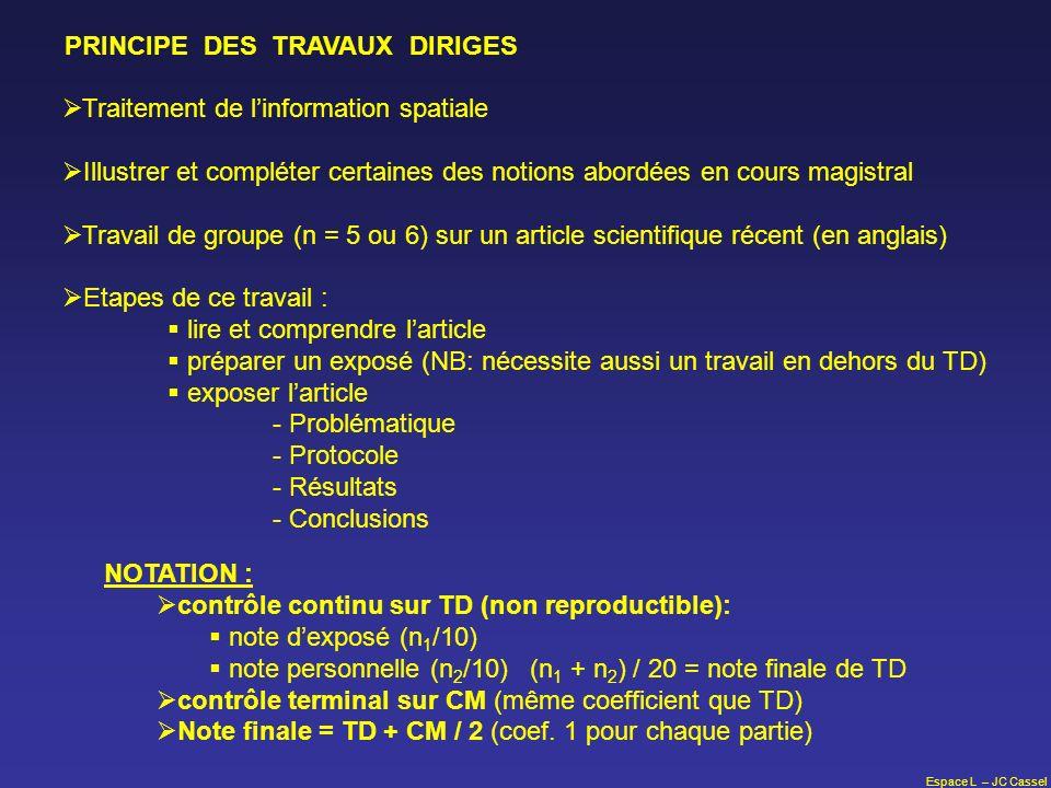 Espace L – JC Cassel PRINCIPE DES TRAVAUX DIRIGES Traitement de linformation spatiale Illustrer et compléter certaines des notions abordées en cours m