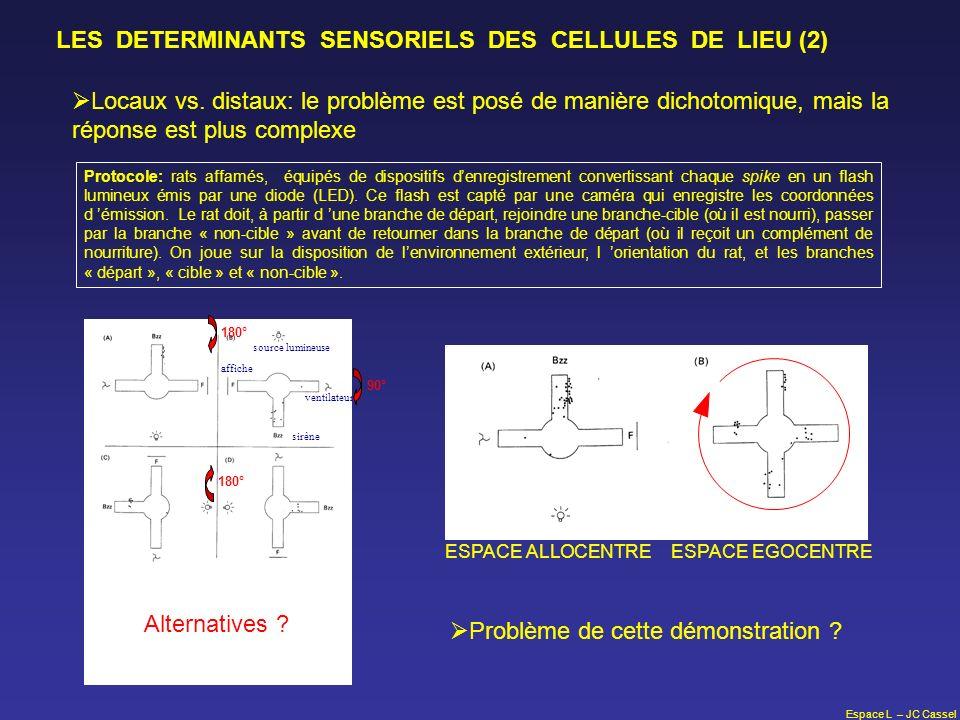Espace L – JC Cassel LES DETERMINANTS SENSORIELS DES CELLULES DE LIEU (2) Locaux vs. distaux: le problème est posé de manière dichotomique, mais la ré