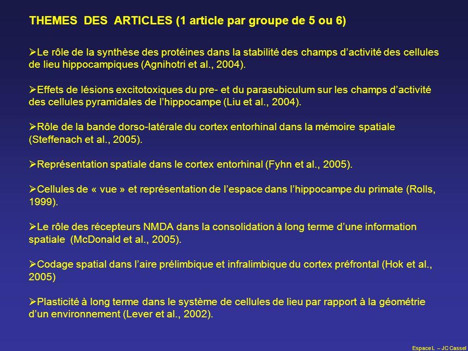 Espace L – JC Cassel THEMES DES ARTICLES (1 article par groupe de 5 ou 6) Le rôle de la synthèse des protéines dans la stabilité des champs dactivité