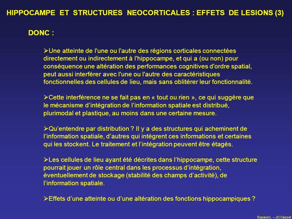 Espace L – JC Cassel HIPPOCAMPE ET STRUCTURES NEOCORTICALES : EFFETS DE LESIONS (3) DONC : Une atteinte de l'une ou l'autre des régions corticales con
