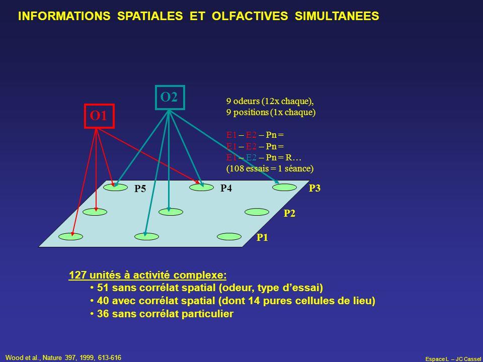 Espace L – JC Cassel O1 O2 P3 P2 P4 127 unités à activité complexe: 51 sans corrélat spatial (odeur, type dessai) 40 avec corrélat spatial (dont 14 pu