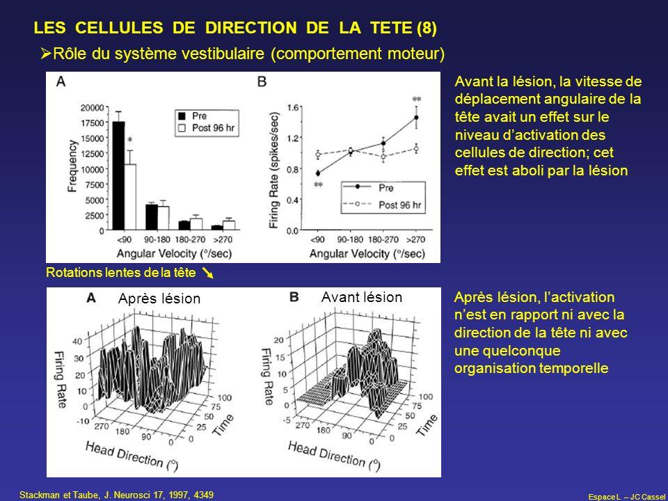 Espace L – JC Cassel LES CELLULES DE DIRECTION DE LA TETE (8) Rôle du système vestibulaire (comportement moteur) Stackman et Taube, J. Neurosci 17, 19