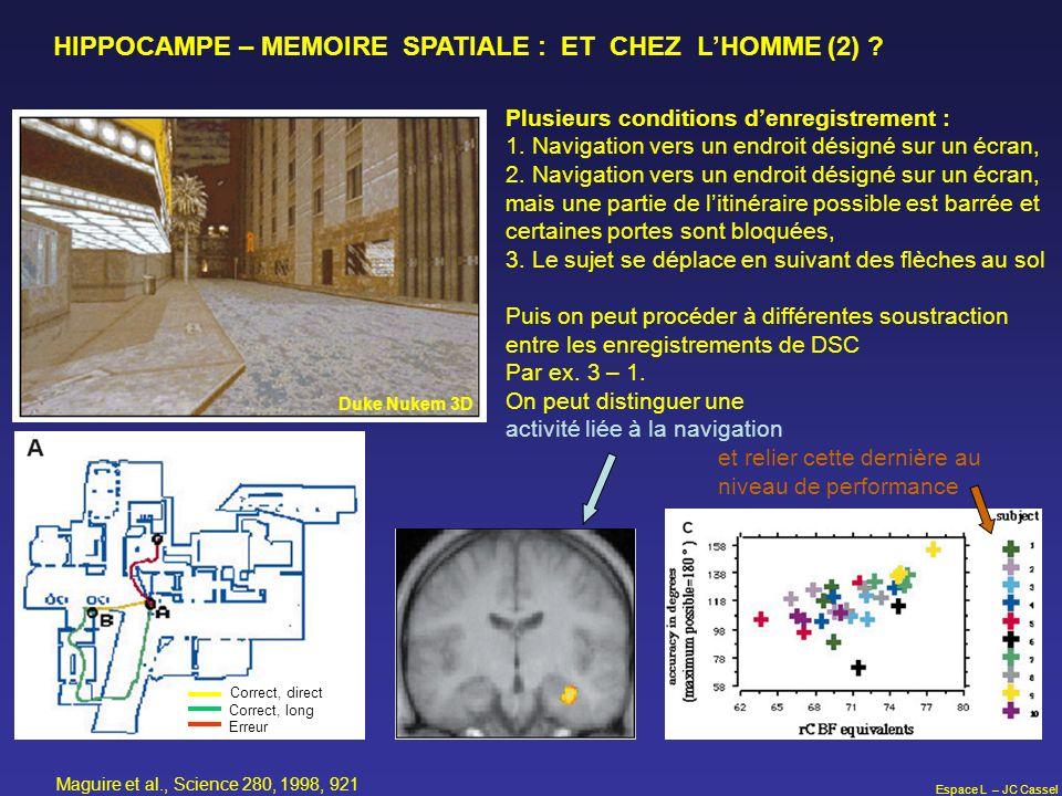 Espace L – JC Cassel HIPPOCAMPE – MEMOIRE SPATIALE : ET CHEZ LHOMME (2) ? Duke Nukem 3D Correct, direct Correct, long Erreur Plusieurs conditions denr