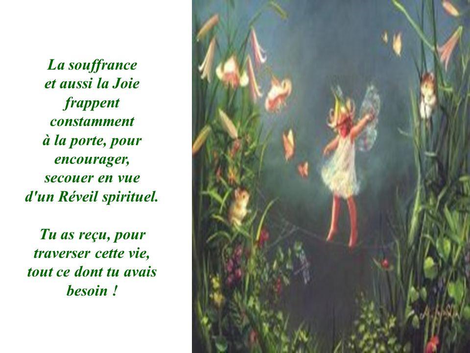 La souffrance et aussi la Joie frappent constamment à la porte, pour encourager, secouer en vue d'un Réveil spirituel. Tu as reçu, pour traverser cett