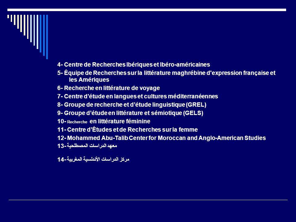 4- Centre de Recherches Ibériques et Ibéro-américaines 5- Équipe de Recherches sur la littérature maghrébine d'expression française et les Amériques 6