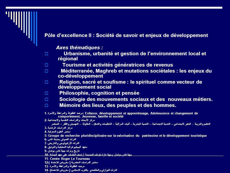 Pôle dexcellence II : Société de savoir et enjeux de développement Axes thématiques : Urbanisme, urbanité et gestion de lenvironnement local et région