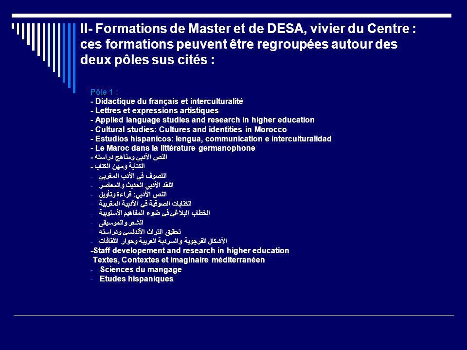 II- Formations de Master et de DESA, vivier du Centre : ces formations peuvent être regroupées autour des deux pôles sus cités : Pôle 1 : - Didactique