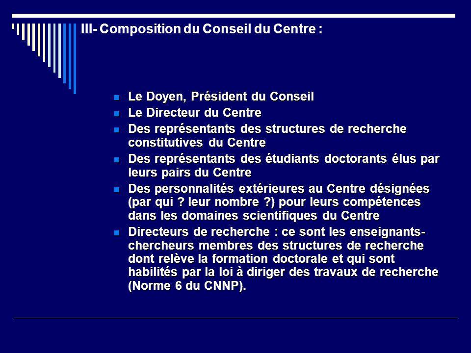 III- Composition du Conseil du Centre : Le Doyen, Président du Conseil Le Doyen, Président du Conseil Le Directeur du Centre Le Directeur du Centre De