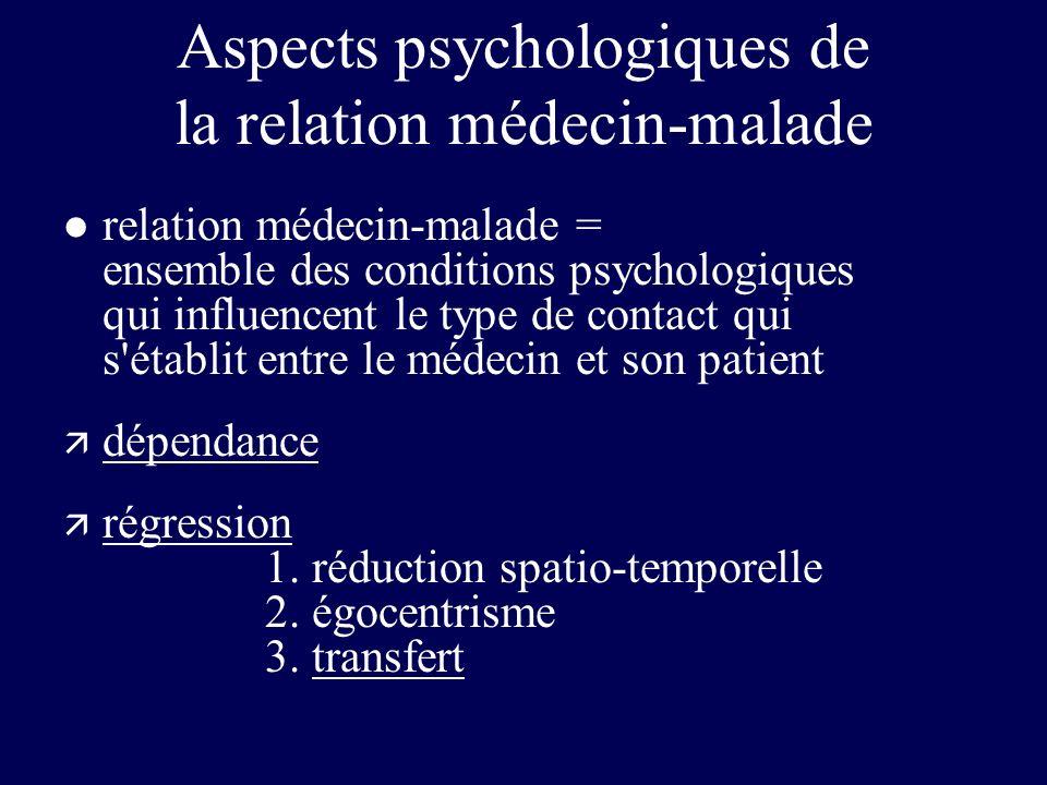 Aspects psychologiques de la relation médecin-malade l relation médecin-malade = ensemble des conditions psychologiques qui influencent le type de con