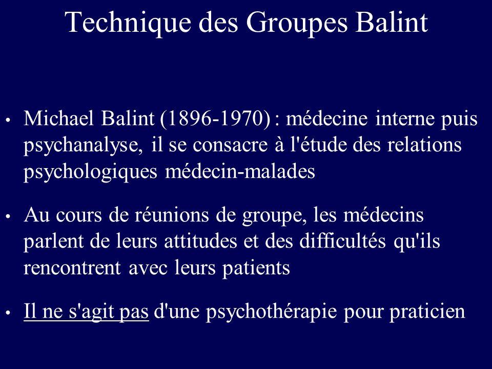 Technique des Groupes Balint Michael Balint (1896-1970) : médecine interne puis psychanalyse, il se consacre à l'étude des relations psychologiques mé