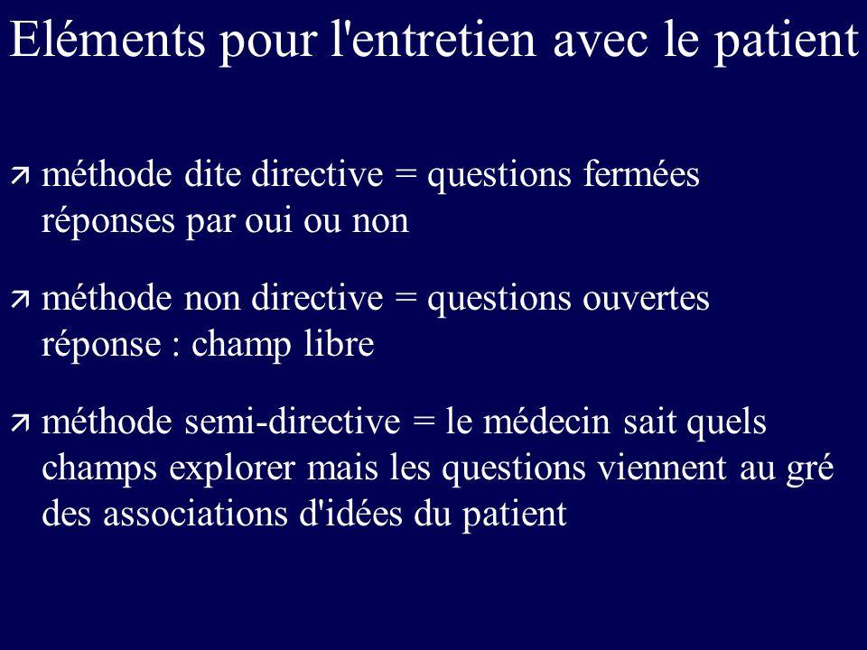 Eléments pour l'entretien avec le patient ä méthode dite directive = questions fermées réponses par oui ou non ä méthode non directive = questions ouv
