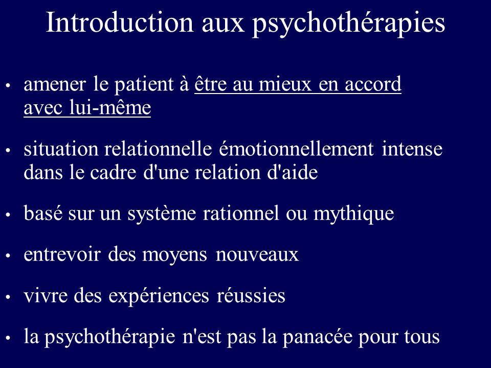 Les grands courants de psychothérapies l Psychothérapies psychanalytiques en référence à la psychanalyse : Sigmund Freud - inconscient - sexualité infantile - transfert l Psychothérapies systémiques basées sur la théorie des systèmes : ex.