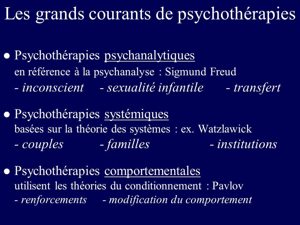 Les grands courants de psychothérapies l Psychothérapies psychanalytiques en référence à la psychanalyse : Sigmund Freud - inconscient - sexualité inf