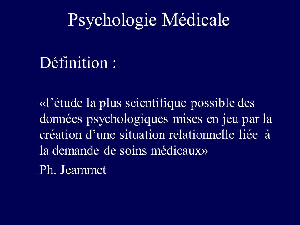 Psychologie Médicale Définition : «létude la plus scientifique possible des données psychologiques mises en jeu par la création dune situation relatio