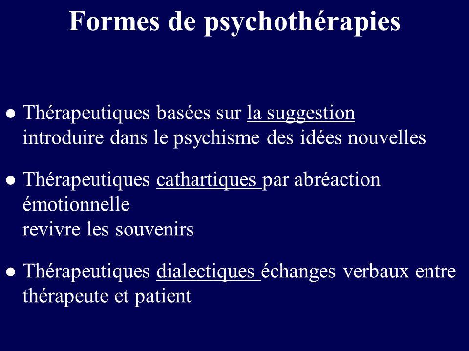 Formes de psychothérapies l Thérapeutiques basées sur la suggestion introduire dans le psychisme des idées nouvelles l Thérapeutiques cathartiques par