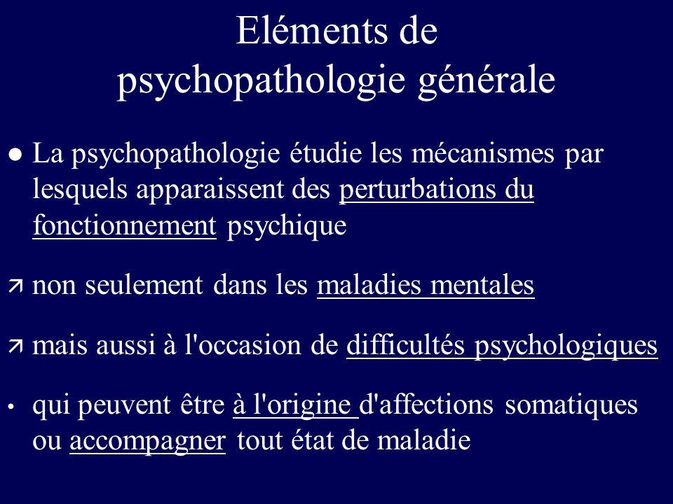Eléments de psychopathologie générale l La psychopathologie étudie les mécanismes par lesquels apparaissent des perturbations du fonctionnement psychi