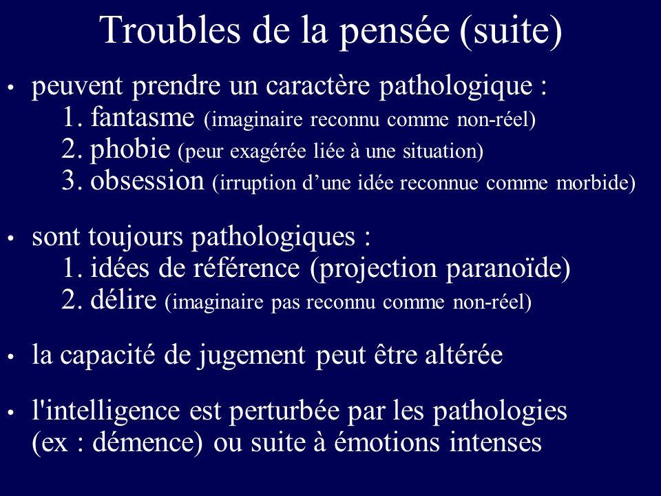 Troubles de la pensée (suite) peuvent prendre un caractère pathologique : 1. fantasme (imaginaire reconnu comme non-réel) 2. phobie (peur exagérée lié