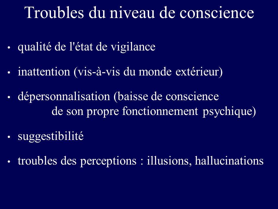 Troubles du niveau de conscience qualité de l'état de vigilance inattention (vis-à-vis du monde extérieur) dépersonnalisation (baisse de conscience de