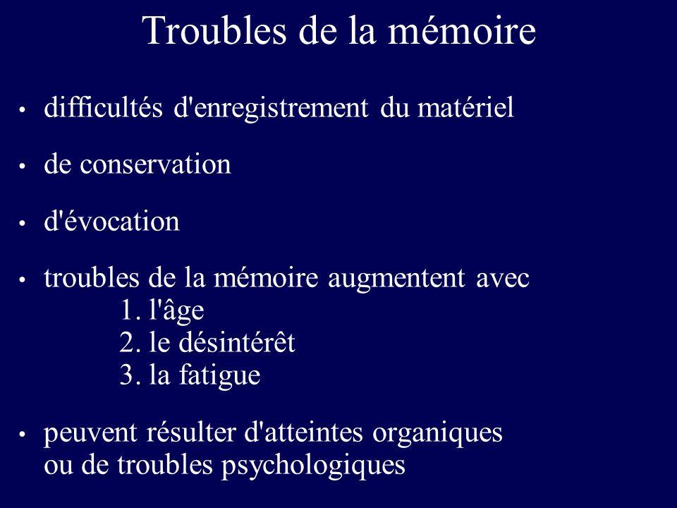 Troubles de la mémoire difficultés d'enregistrement du matériel de conservation d'évocation troubles de la mémoire augmentent avec 1. l'âge 2. le dési