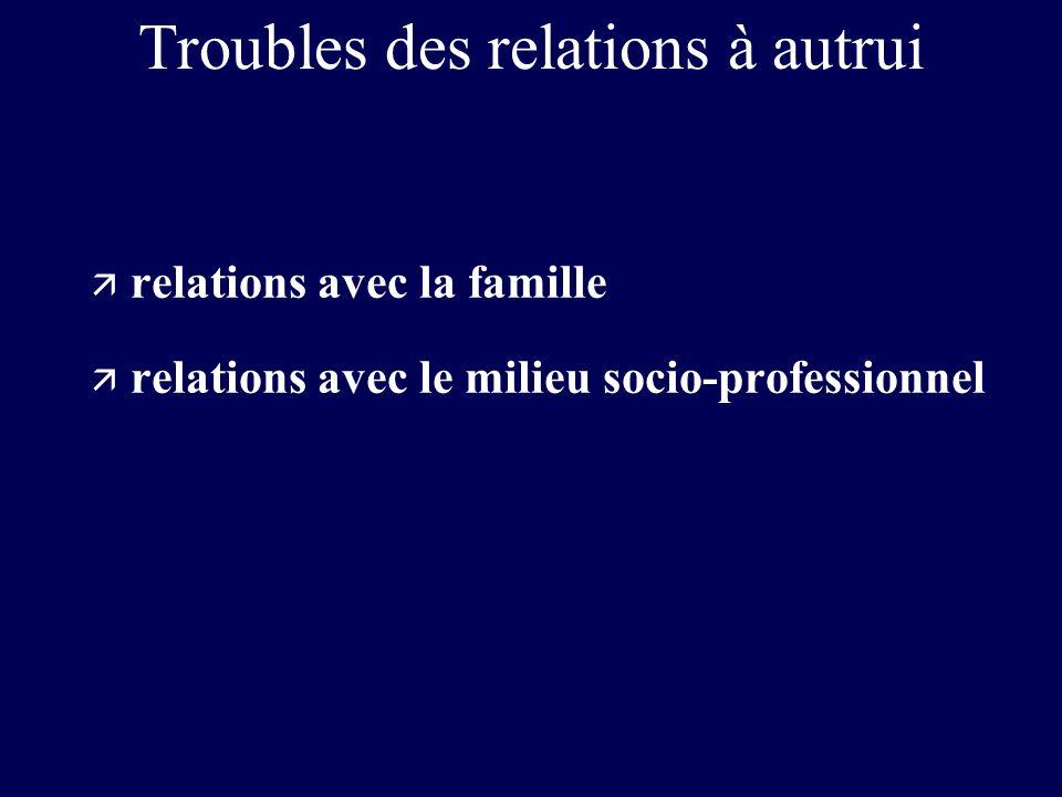 Troubles des relations à autrui ä relations avec la famille ä relations avec le milieu socio-professionnel