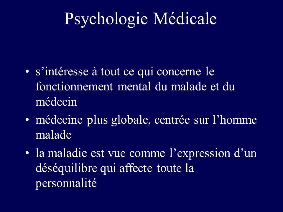 Psychologie Médicale sintéresse à tout ce qui concerne le fonctionnement mental du malade et du médecin médecine plus globale, centrée sur lhomme mala