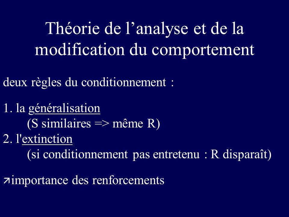 deux règles du conditionnement : 1. la généralisation (S similaires => même R) 2. l'extinction (si conditionnement pas entretenu : R disparaît) ä impo