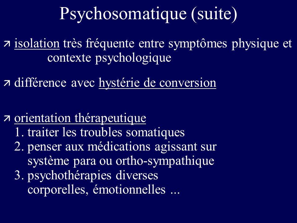Psychosomatique (suite) ä isolation très fréquente entre symptômes physique et contexte psychologique ä différence avec hystérie de conversion ä orien