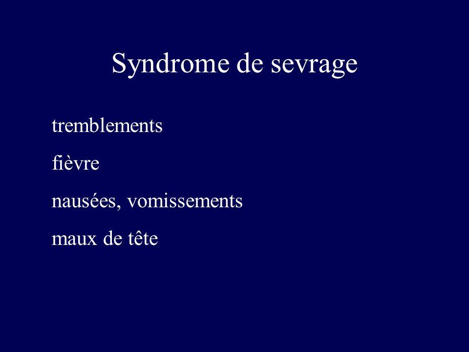 tremblements fièvre nausées, vomissements maux de tête Syndrome de sevrage