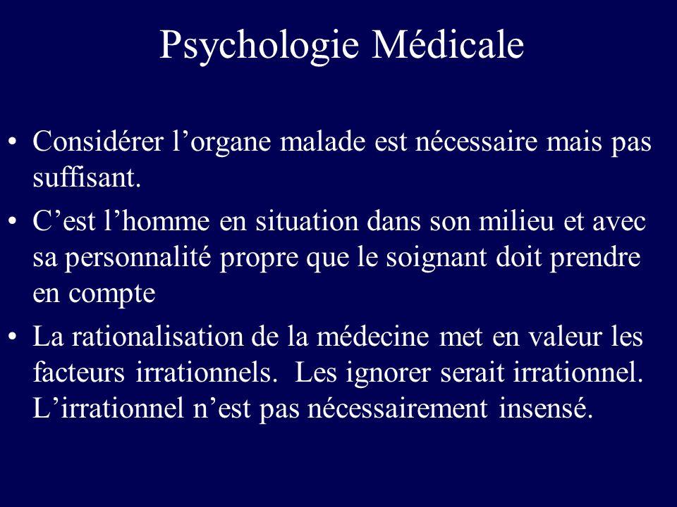 Psychologie Médicale Lhistoire de chaque homme est ce qui permet de le connaître et de le comprendre La maladie nest pas cet événement frappant un individu qui la subit et dont toutes les forces tendent vers la guérison Lorganisme malade est impliqué dans lapparition, le déroulement, la guérison de la maladie