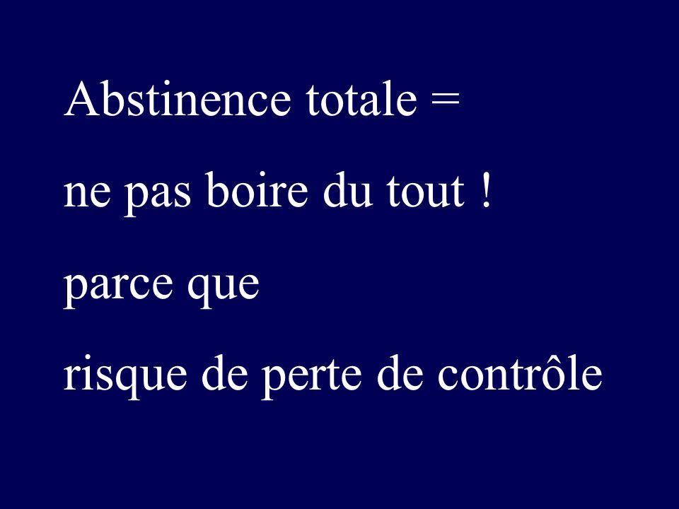 Abstinence totale = ne pas boire du tout ! parce que risque de perte de contrôle