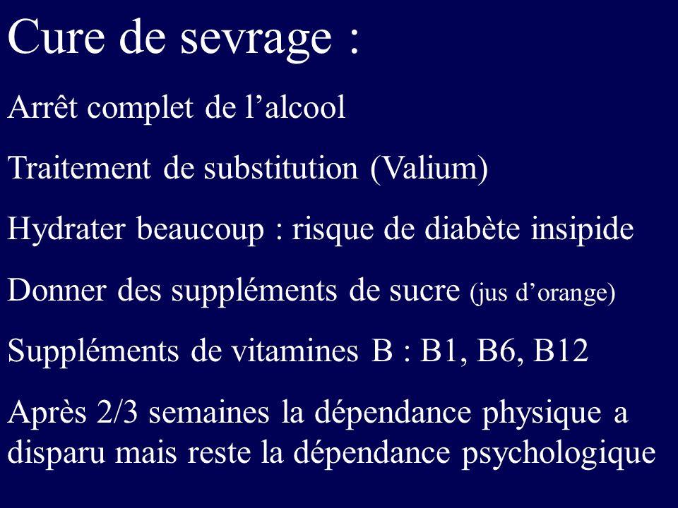 Cure de sevrage : Arrêt complet de lalcool Traitement de substitution (Valium) Hydrater beaucoup : risque de diabète insipide Donner des suppléments d