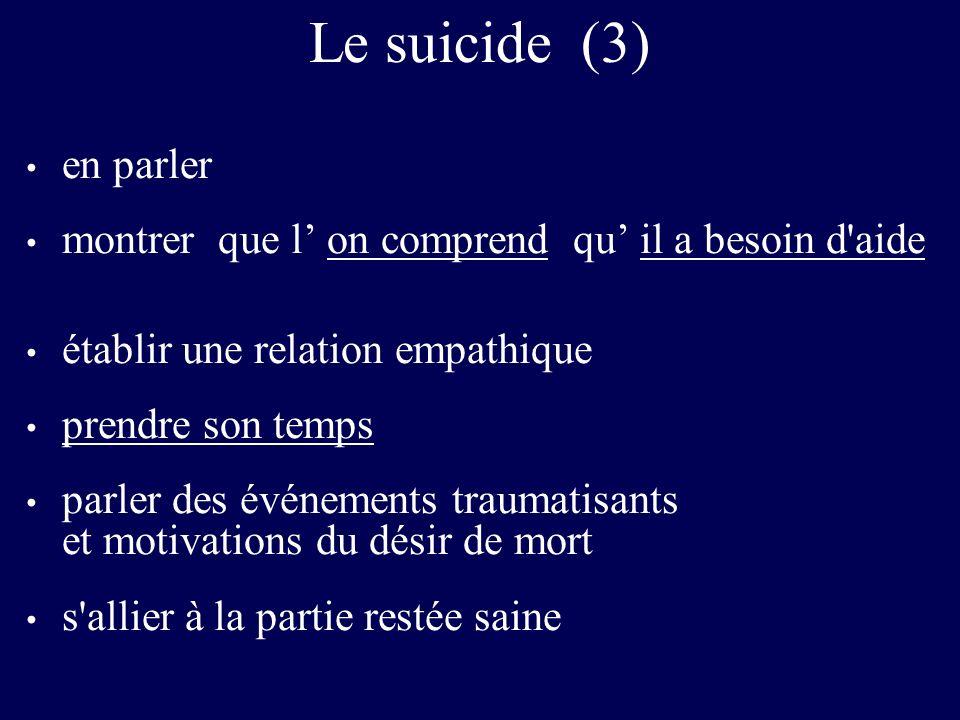 Le suicide (3) en parler montrer que l on comprend qu il a besoin d'aide établir une relation empathique prendre son temps parler des événements traum