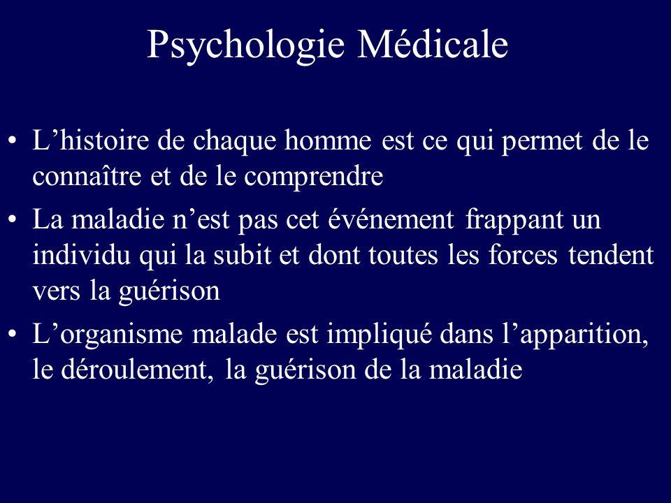 Psychologie Médicale Lhistoire de chaque homme est ce qui permet de le connaître et de le comprendre La maladie nest pas cet événement frappant un ind