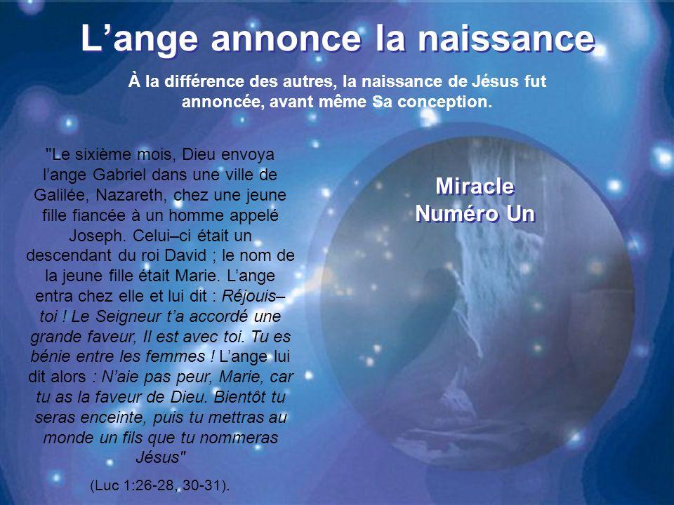 Lange annonce la naissance À la différence des autres, la naissance de Jésus fut annoncée, avant même Sa conception.