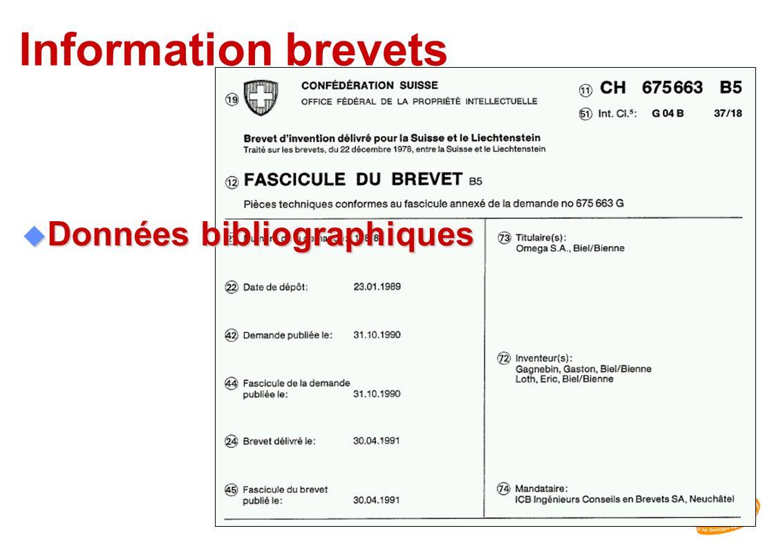 Information brevets u Données bibliographiques