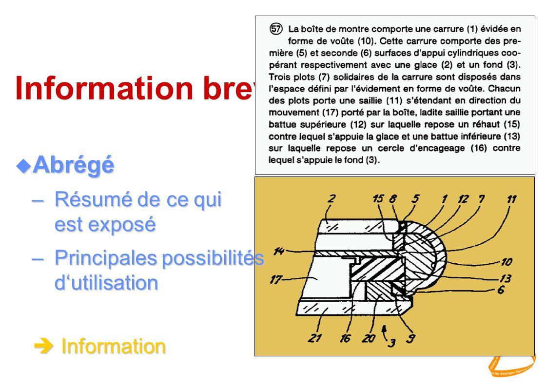 Information brevets u Abrégé –Résumé de ce qui est exposé –Principales possibilités dutilisation èInformation