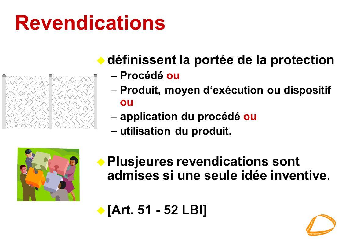 Revendications u définissent la portée de la protection –Procédé ou –Produit, moyen dexécution ou dispositif ou –application du procédé ou –utilisatio