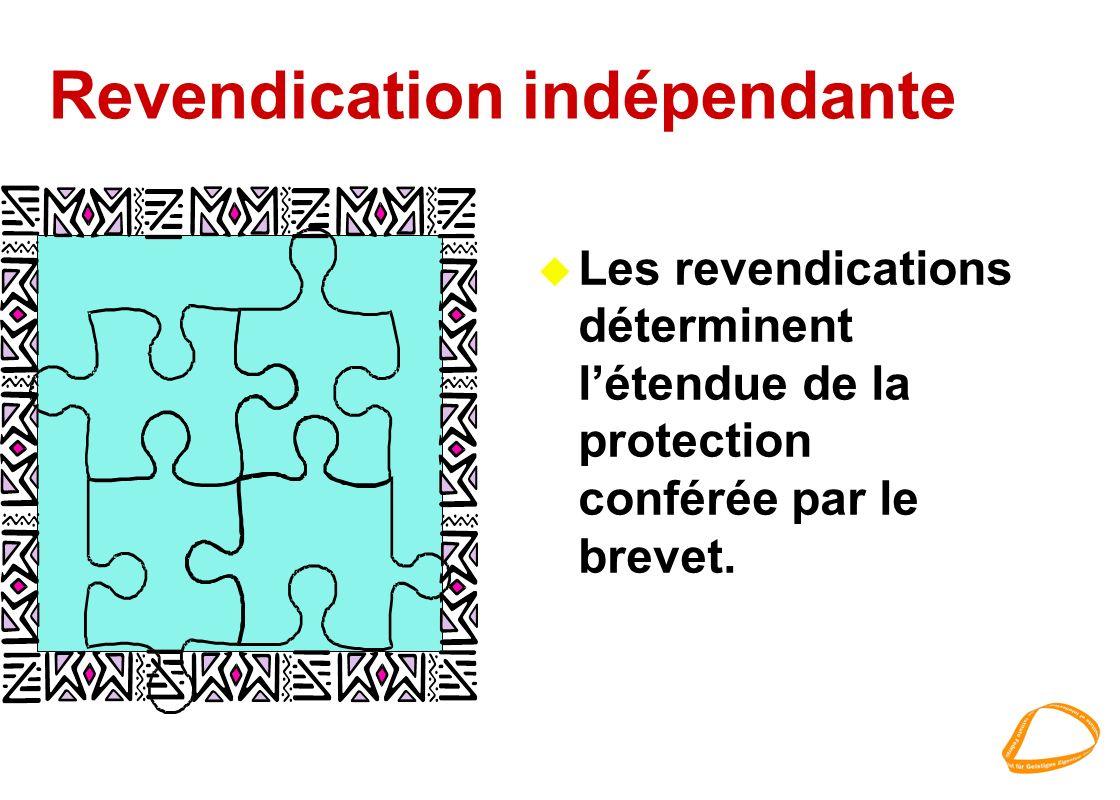 Revendication indépendante u Les revendications déterminent létendue de la protection conférée par le brevet.