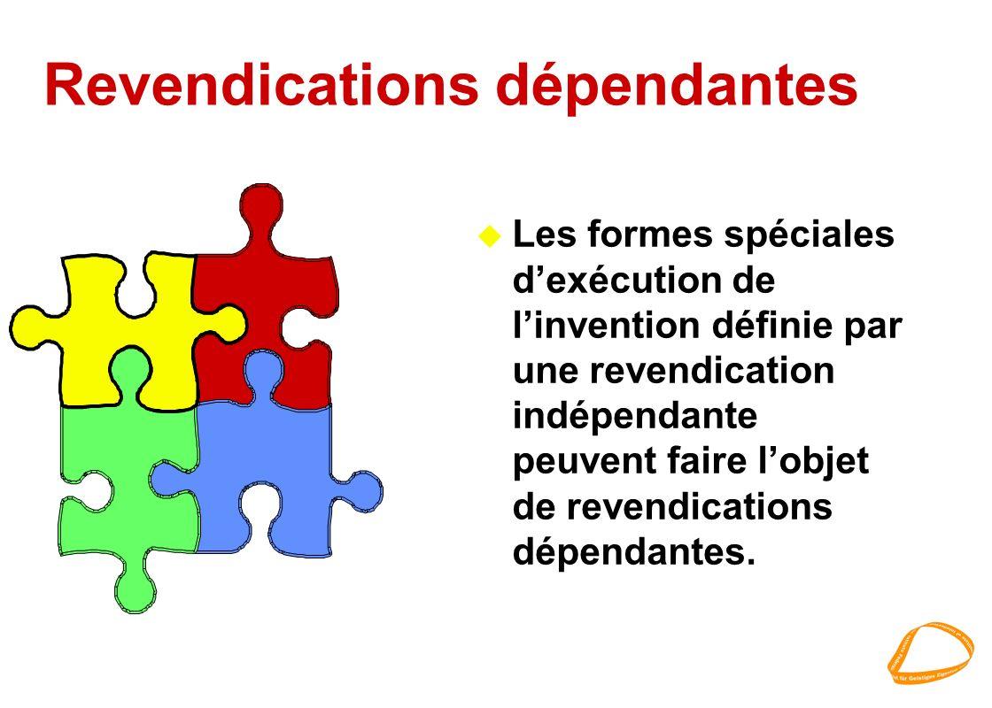 Revendications dépendantes u Les formes spéciales dexécution de linvention définie par une revendication indépendante peuvent faire lobjet de revendic