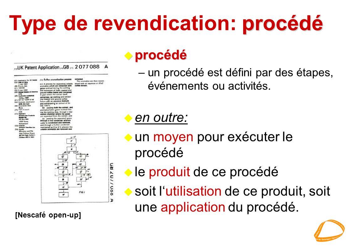 procédé Type de revendication: procédé u procédé –un procédé est défini par des étapes, événements ou activités. u en outre: u un moyen pour exécuter