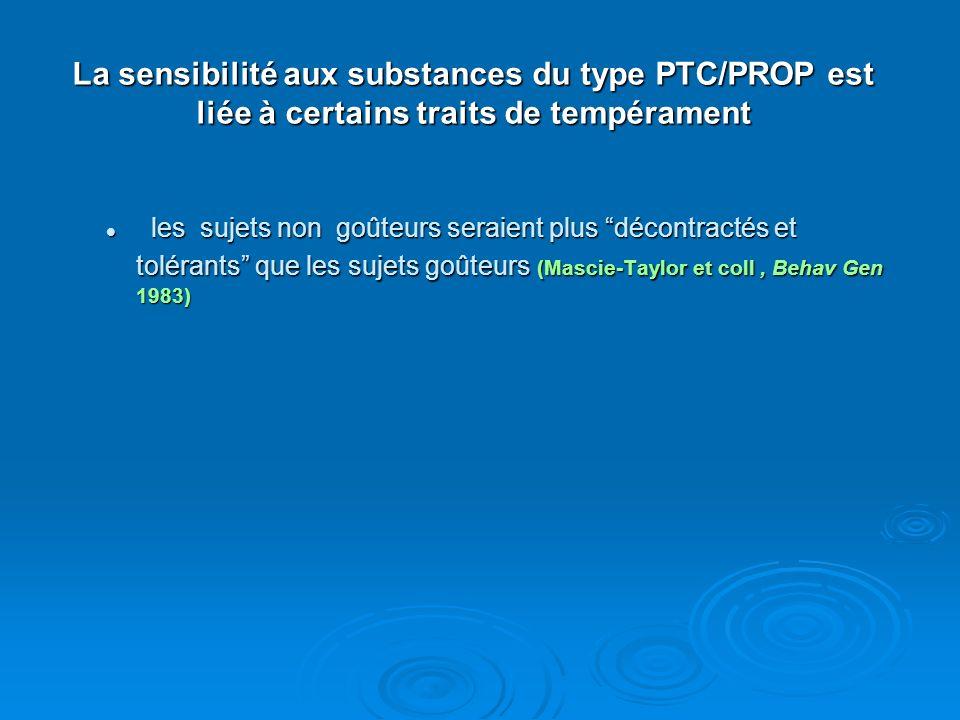 La sensibilité aux substances du type PTC/PROP est liée à certains traits de tempérament les sujets non goûteurs seraient plus décontractés et toléran