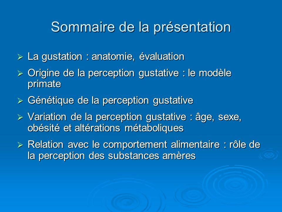 Sommaire de la présentation La gustation : anatomie, évaluation La gustation : anatomie, évaluation Origine de la perception gustative : le modèle pri
